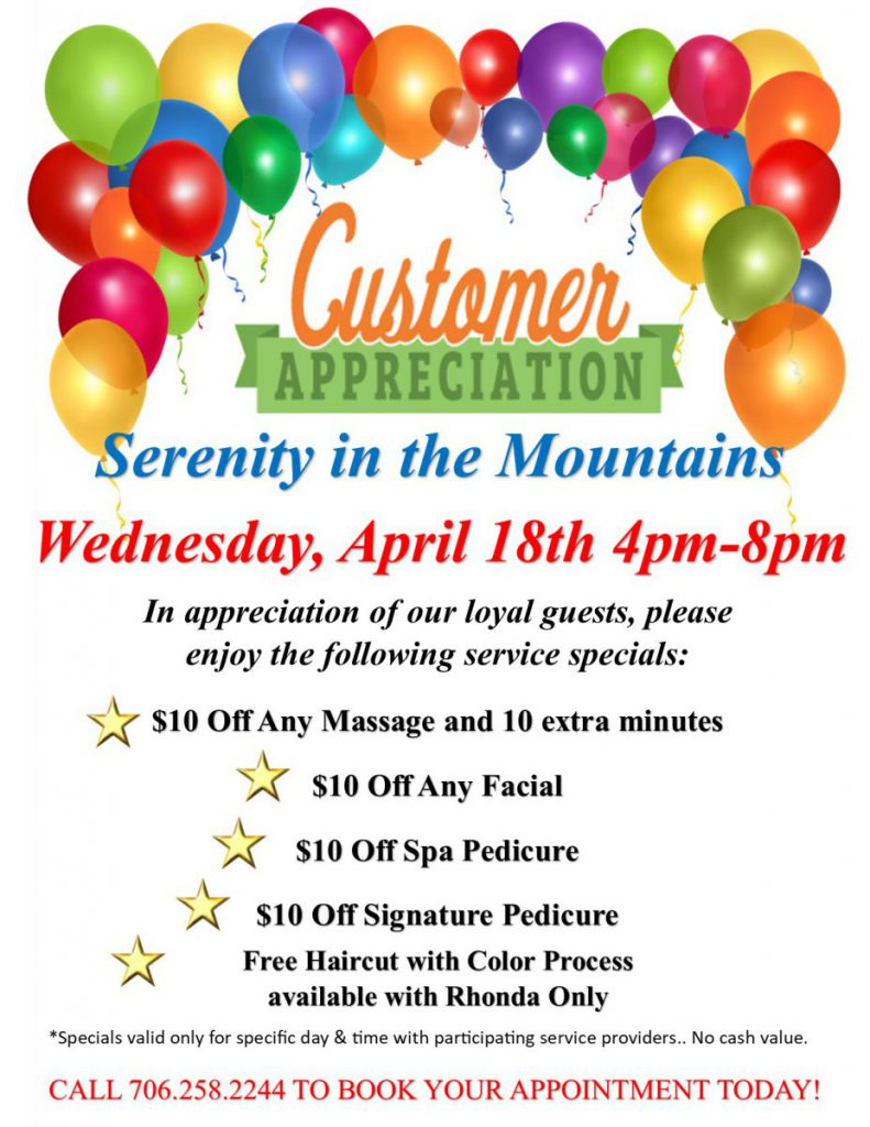 April 18th Customer Appreciation Afternoon Specials
